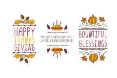 Set of Thanksgiving elements and text on white background Royalty Free Stock Photo