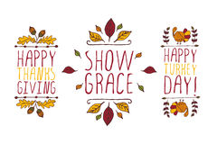 Set of Thanksgiving elements and text on white background. Set of Thanksgiving elements. Hand-sketched typographic elements on white background. Happy Stock Photography