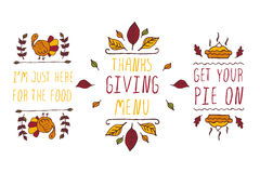 Set of Thanksgiving elements and text on white background. Set of Thanksgiving elements. Hand-sketched typographic elements on white background. I am just here Stock Photos