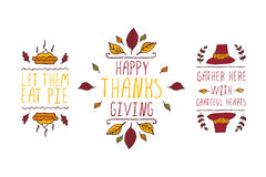 Set of Thanksgiving elements and text on white background Stock Photos