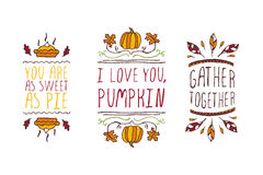 Set of Thanksgiving elements and text on white background Royalty Free Stock Photos