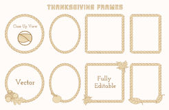 Set of Thanksgiving frames with hand drawn elements. Space for your text. Detailed vector design Royalty Free Stock Photos