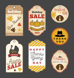 Set of Thanksgiving gift tags and Autumn sale promotion tag labels Royalty Free Stock Photo