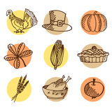 Set of thanksgiving hand drawn icons, isolated s Royalty Free Stock Photography