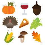 Set of Thanksgiving Icons Stock Photo