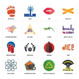 Set of thanksgiving, recycle reuse uce, celtic knot, spartan, boxing gloves, lizard, catering services, lips, bear paw icons. Set Of 16 simple  icons such as Royalty Free Stock Image