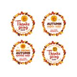 Set of thanksgiving super sale badge sticker vector design. typography badge with dry leaf frame ornament. element for online shop. Web, banner, poster, flyer royalty free illustration