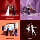 Set Of 2x2 Theater Images. People on theater scenes performance musical ballet and in dressing room flat 2x2 images set vector illustration Stock Images