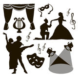 Set of theatre acting performance icons Royalty Free Stock Images