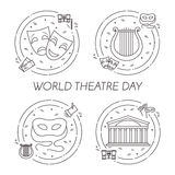 Set of theatre related banners for world theatre day Stock Images