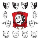 Set of theatrical masks. Isolated illustration with set of theatrical masks Royalty Free Stock Photography