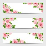 Set of web banners with pink roses. Vector illustration. Royalty Free Stock Photos