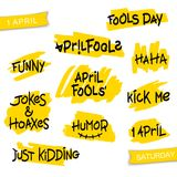 Set of thematic brush lettering. Set ten phrases on the theme of humor and April Fools` Day. Simple and quality brush lettering Royalty Free Stock Photos