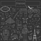 Set of thematic elements of France Royalty Free Stock Photos