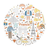 Set of thematic elements of France Stock Photo