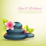 Set thematical zdrój karty z wellness rzeczami Zdjęcia Royalty Free