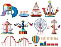 A set of theme park rides royalty free illustration