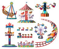 A set of theme park rides. Illustration royalty free illustration