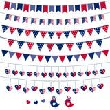 set themed för amerikansk buntingflagga Fotografering för Bildbyråer