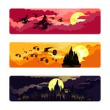 Set of themed images for Halloween. Witches flying on broomsticks with bats. Halloween pumpkins. Kingdom. Castle. Vector stock illustration