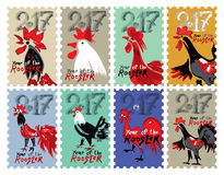 Set of  themed stamps Roosters 2017. Hand drawn Roosters 2017. Set of  themed stamps. New Year on the Chinese calendar. Speckled doodle cocks Royalty Free Stock Photography