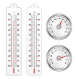 Set of thermometers and barometer in vector Royalty Free Stock Photo