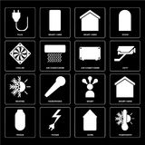 Set of Thermostat, Home, Power, Smart, Heating, Air conditioner,. Set Of 16 icons such as Thermostat, Home, Power, Smart home, Plug, Cooler, Heating, Air Stock Illustration