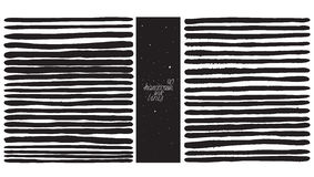 Set of 40 thick lines, made with hand and liquid ink, freehand, ornated, with splashes, spots, brush blobs. Vector black and white Royalty Free Stock Images