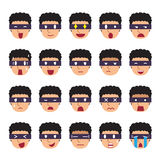Set of thief faces showing different emotions. For design Royalty Free Stock Images