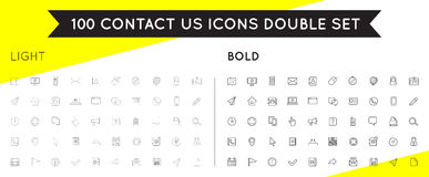 Set of Thin and Bold Contact us Service Elements and Assistance Royalty Free Stock Photography