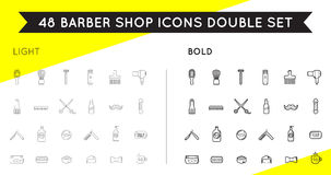 Set of Thin and Bold Vector Barber Shop Elements Stock Images