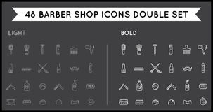 Set of Thin and Bold Vector Barber Shop Elements and Shave Shop Royalty Free Stock Image