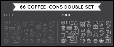 Set of Thin and Bold Vector Coffee Elements and Coffee Accessori Stock Photography