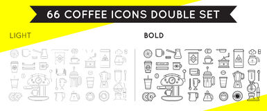 Set of Thin and Bold Vector Coffee Elements Royalty Free Stock Photography