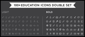 Set of Thin and Bold Vector Education Icons Illustration can be Royalty Free Stock Photo