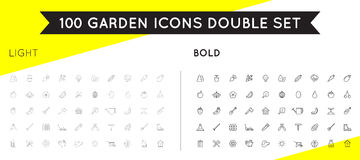 Set of Thin and Bold Vector Garden and Farm Elements and Fruits. Or Vegetables Icons Illustration can be used as Logo or Icon in premium quality EPS Stock Photography