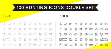 Set of Thin and Bold Vector Hunting Camping Sport Elements Illus Royalty Free Stock Images