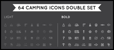 Set of Thin and Bold Vector Hunting Camping Sport Elements Illus stock illustration