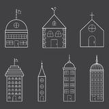 Set of thin building icons Stock Photos