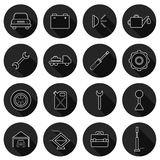 Set of thin car repair icons Royalty Free Stock Images