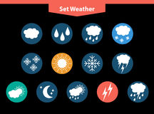 Set thin and clean outline weather icons. For web or mobile. buttons on black background royalty free illustration