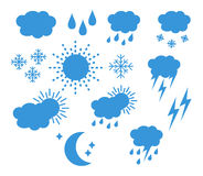 Set thin and clean outline weather icons. For web or mobile use on white background stock illustration