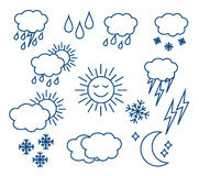Set thin and clean outline weather icons. For web or mobile use on white background royalty free illustration