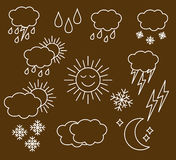 Set thin and clean outline weather. Icons for web or mobile use. white isolated on brown background stock illustration
