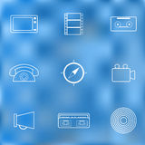 Set of thin icons on retro theme Royalty Free Stock Photography