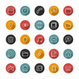 Set of thin icons. Style lines. Vector collection. Set of thin icons. Style lines. Vector collection for the user interface, web sites, mobile applications Royalty Free Stock Photos