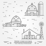 Set of thin line american farm icon. Royalty Free Stock Photos