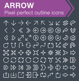 Set of thin line arrow icons. Pixel perfect trendy thin line icons for mobile apps and web design. Editable stroke Royalty Free Stock Photography
