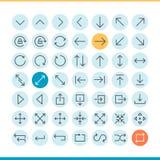 Set of thin line arrow icons Royalty Free Stock Photo