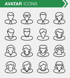 Set of thin line avatar icons. Stock Photos